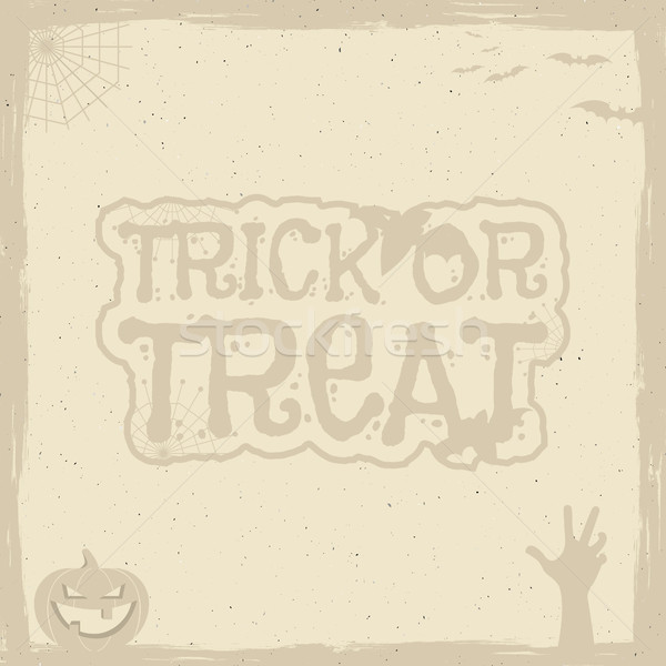 Stock photo: Happy Halloween Poster template with holiday symbols - bat, pumpkin, hand, witch hat, spider web and