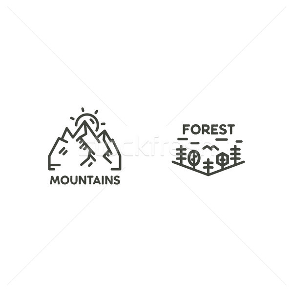 Vintage linear travel badges. Camping line art label concept. Mountain expedition logo design. Trave Stock photo © JeksonGraphics