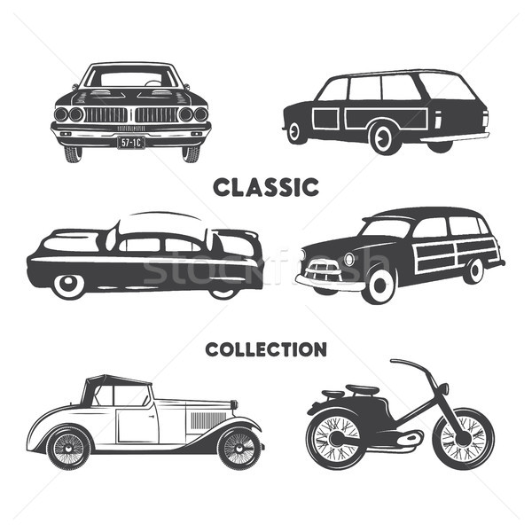 Classic cars, vintage car icons, symbols set.Vintage hand drawn cars, muscle, motorcycle elements. U Stock photo © JeksonGraphics