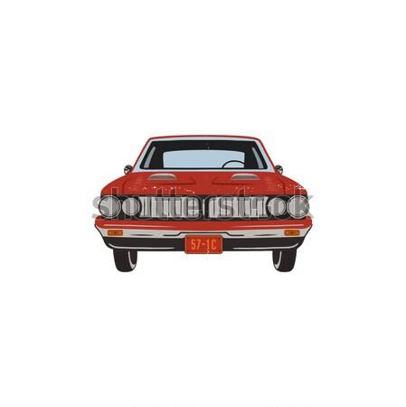 Vintage dibujado a mano muscle car retro rojo coche Foto stock © JeksonGraphics