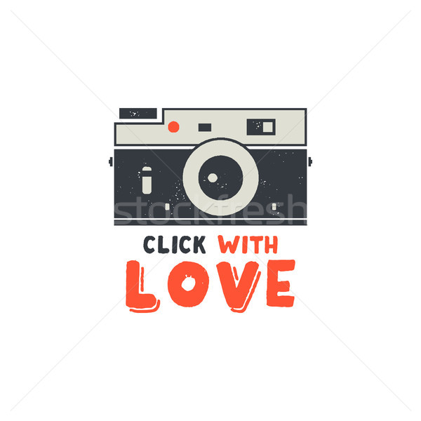 Retro Camera T-Shirt. Vintage hand drawn photography tee with Click with Love words. Distressed silh Stock photo © JeksonGraphics