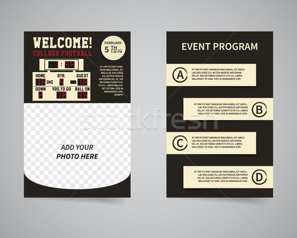 American football party back and front flyer template design. Usa Sport brand identity letterhead. E Stock photo © JeksonGraphics
