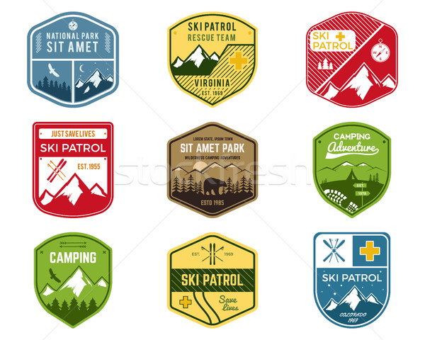 Set of Ski Club, Patrol Labels. Vintage Mountain winter camping explorer badges. Outdoor adventure l Stock photo © JeksonGraphics