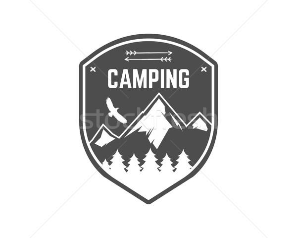 Camping Label. Vintage Mountain winter camp explorer badge. Outdoor adventure logo design. Travel mo Stock photo © JeksonGraphics
