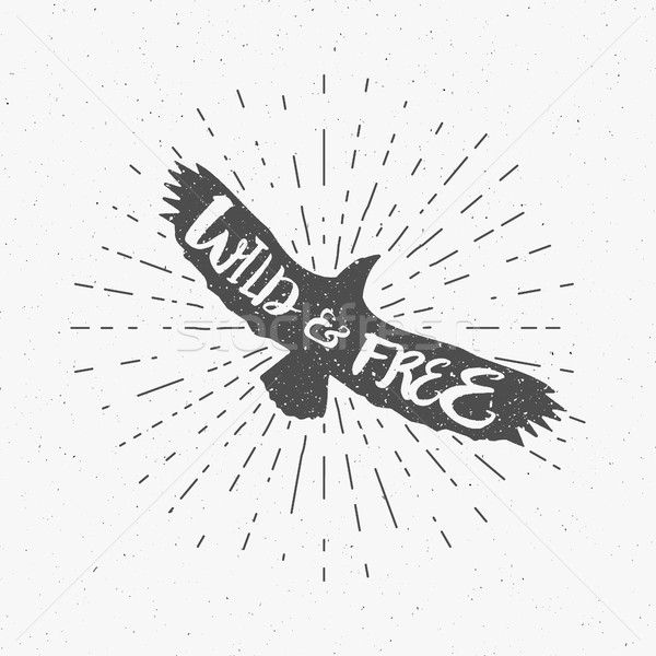 Vintage eagle with hand drawn lettering slogan. Retro silhouette monochrome animal design with inspi Stock photo © JeksonGraphics