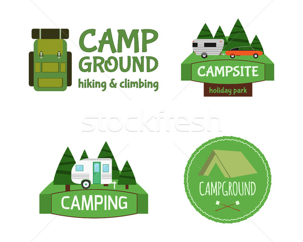 Outdoor  Activity Tourism Travel Logo Vintage Labels design template. RV, forest holiday park, carav Stock photo © JeksonGraphics