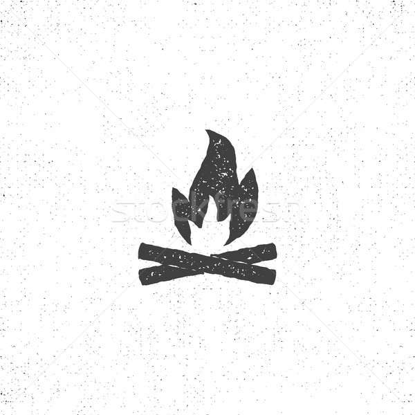 bonfire icon silhouette. Retro letterpress effect. Use for infographics, camping logo and so on.  Stock photo © JeksonGraphics