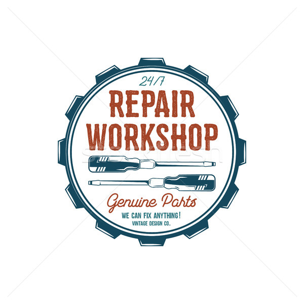 Vintage label design. Repair workshop emblem in retro colors style with garage tools - screwdrivers  Stock photo © JeksonGraphics