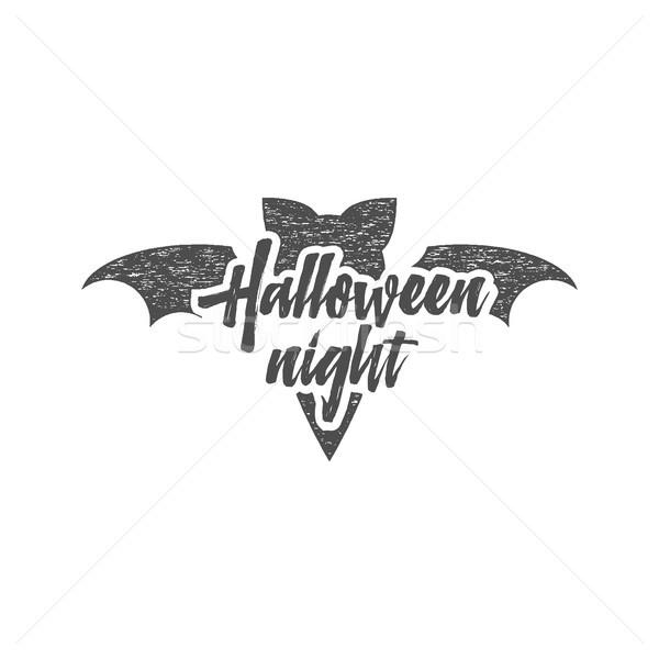 Halloween buli éjszaka címke sablon denevér Stock fotó © JeksonGraphics