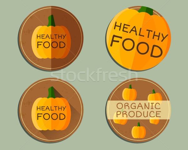 Organic farm corporate identity design with pumpkin. Branding your eco shop, company. Ecology labels Stock photo © JeksonGraphics