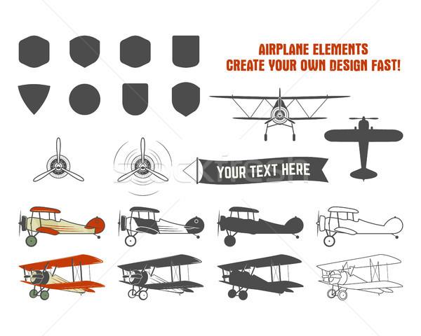 Stock fotó: Klasszikus · repülőgép · szimbólumok · kétfedelű · repülőgép · vektor · grafikus