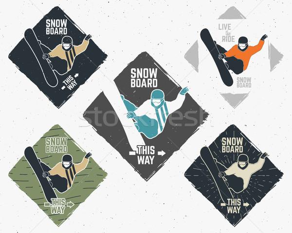 Stockfoto: Ingesteld · snowboarden · stickers · vintage · berg · ontdekkingsreiziger
