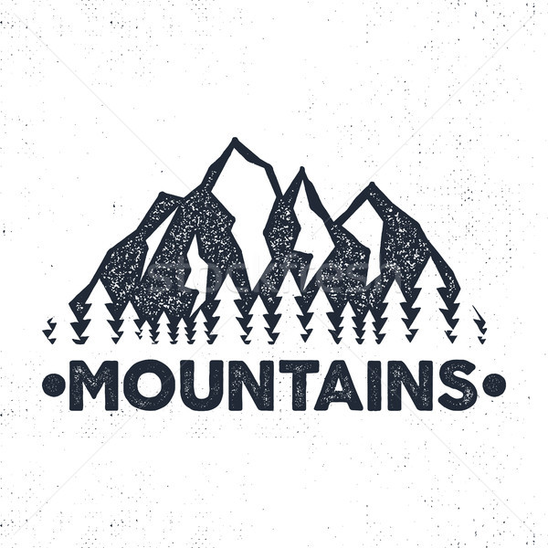 Hand drawn adventure label. Mountains and forest illustration. Typography design with sun bursts. Ro Stock photo © JeksonGraphics