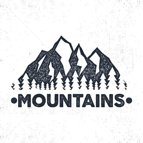 Przygoda etykiety góry lasu ilustracja Zdjęcia stock © JeksonGraphics