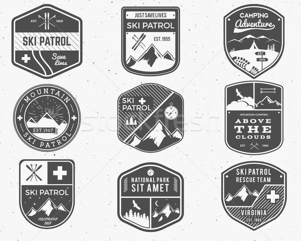 Set of Ski Club, Patrol Labels. Vintage Mountain winter camp explorer badges. Outdoor adventure logo Stock photo © JeksonGraphics