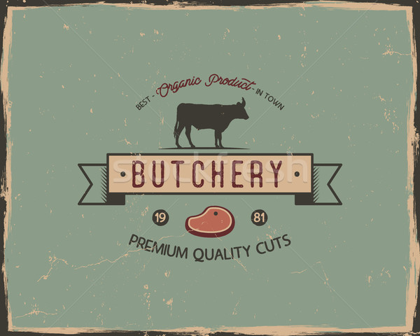 Butchery shop typography poster template in retro old style. Offset and letterpress design. Letter p Stock photo © JeksonGraphics