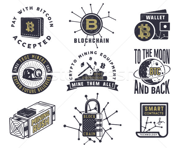 Blockchain, bitcoin, crypto currencies emblems and concepts set . Digital assets logos. Vintage han  Stock photo © JeksonGraphics