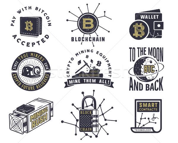 Bitcoin pénznemek fogalmak szett digitális tőke Stock fotó © JeksonGraphics