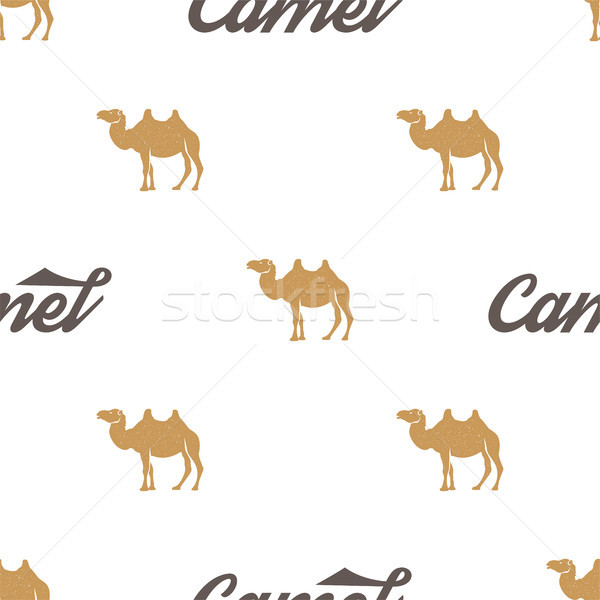 Camel pattern. Seamless background illustration with wild animal symbols, elements. Monochrome silho Stock photo © JeksonGraphics