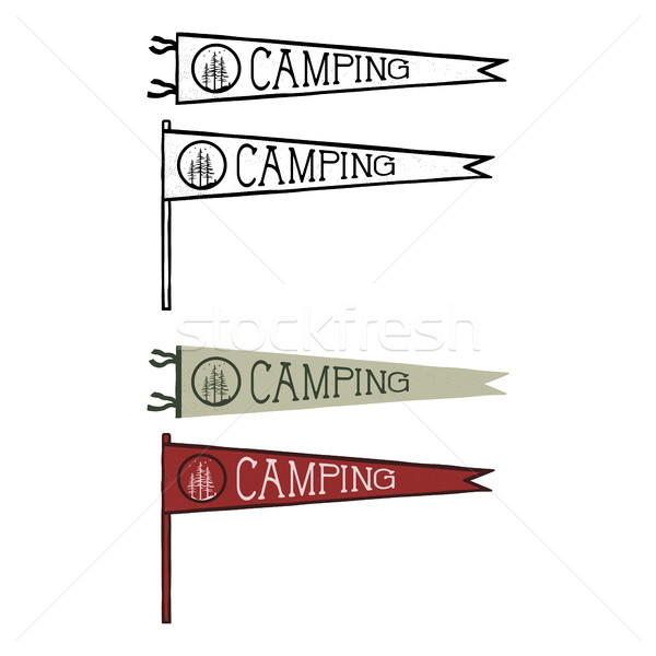 Camping pennants templates. Vintage Hand drawn pendants in retro colors design. Best for t-shirts, t Stock photo © JeksonGraphics