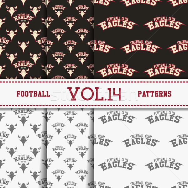 Set of american football patterns. Usa sports seamless background collection. Sport wallpaper with e Stock photo © JeksonGraphics