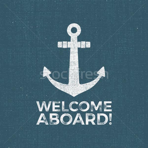 Náutico diseno marinero vector emblema ancla Foto stock © JeksonGraphics