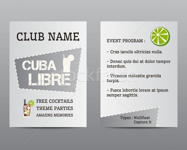 лет коктейль Flyer приглашения шаблон Куба Сток-фото © JeksonGraphics