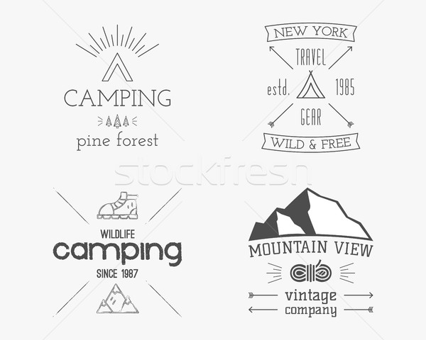 Mountain and family forest camp badge, logo and label template. Travel, hiking, climbing style. Outd Stock photo © JeksonGraphics