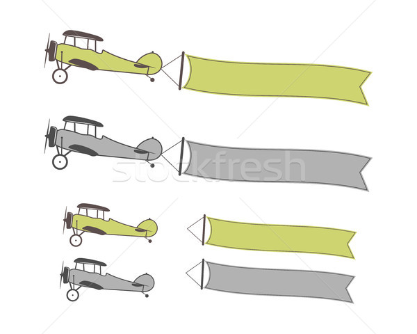 Stock photo: Set of airplanes symbols with banners, empty form for quote, text, slogan, motivation signs. Retro b