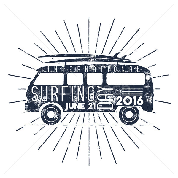 Surfing day typography label. Vector Vacation typographic emblem with star bursts. Surfer party retr Stock photo © JeksonGraphics