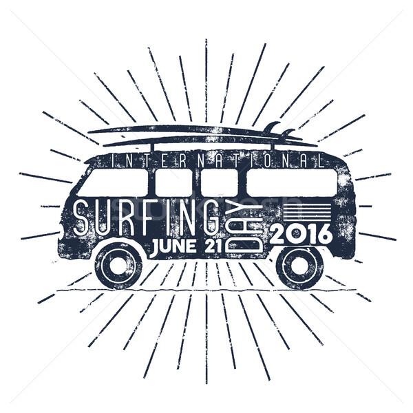 Surfen dag typografie label vector vakantie Stockfoto © JeksonGraphics