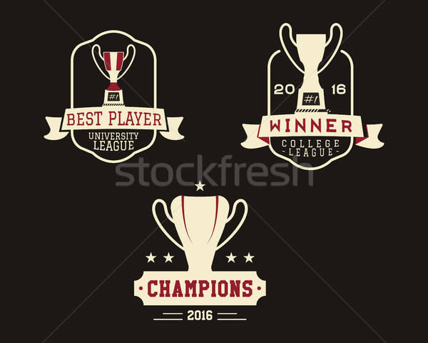 American football badge with winner cup, sport logo, champion label, insignia set in retro color sty Stock photo © JeksonGraphics