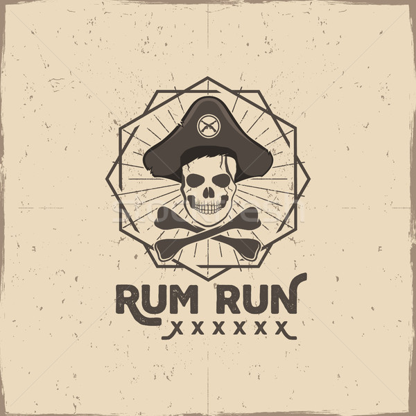 Pirate skull insignia or poster. Rum label design with sun bursts, geometric shield and text - rum r Stock photo © JeksonGraphics