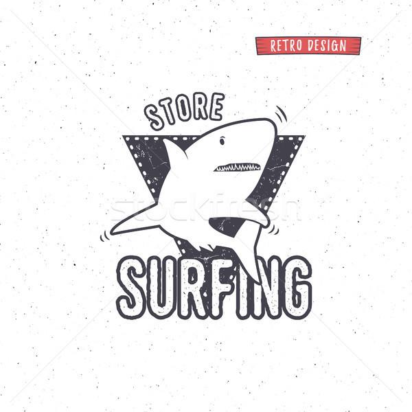 Vintage surfe armazenar distintivo projeto surfar Foto stock © JeksonGraphics