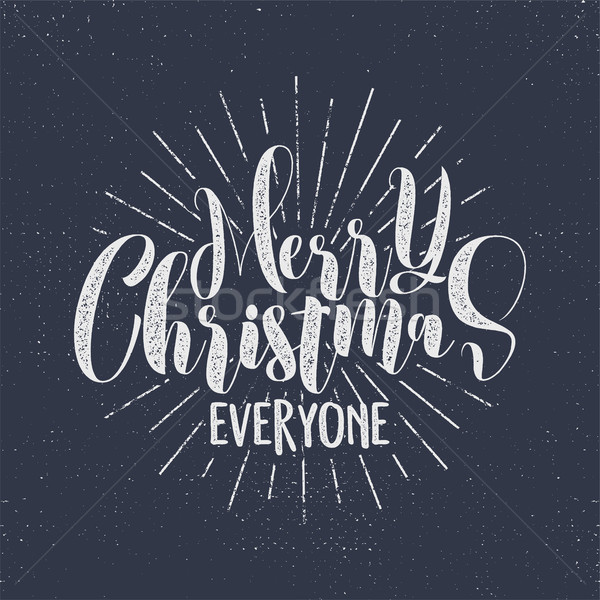 Merry Christmas everyone lettering, holiday wishe, sayings and vintage label. Season's greetings cal Stock photo © JeksonGraphics