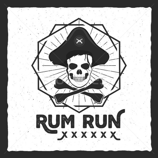 Pirate skull insignia, poster. Rum label design with sun bursts, geometric shield and text - rum run Stock photo © JeksonGraphics
