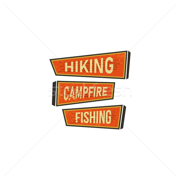 Vintage Hand drawn camping signs, travel badges - Hiking, campfire, fishing. Old retro style. Campin Stock photo © JeksonGraphics