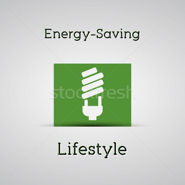 Enerji yaşam tarzı poster gümüş lamba Stok fotoğraf © JeksonGraphics