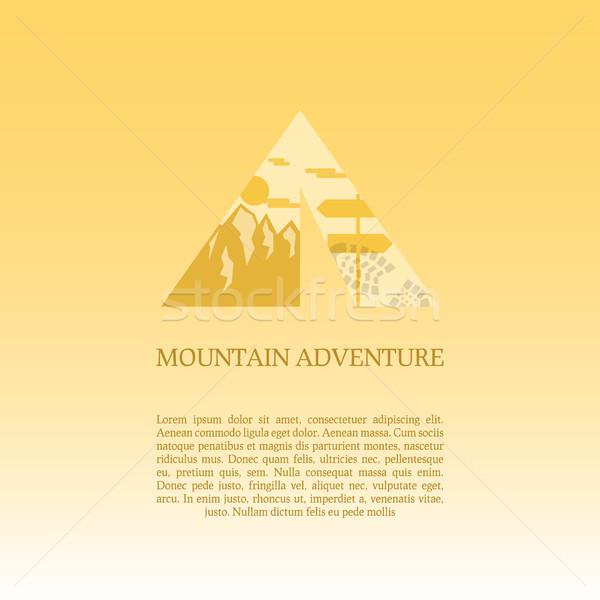 Mountain camp logo design template. Adventure symbol vector concept. Tent with landscape. Unique ico Stock photo © JeksonGraphics