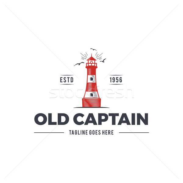 Nautical logo design, icon Old captain emblem with sea elements - lighthouse, seagulls, sunburst. Sa Stock photo © JeksonGraphics