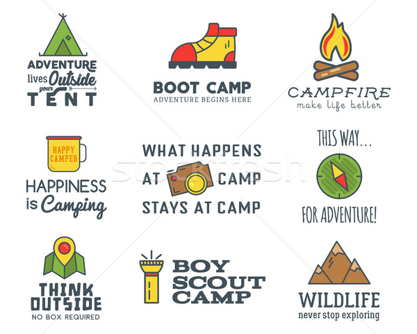 Camping logo design set with typography and travel elements - compass, mountain, tent. With vector a Stock photo © JeksonGraphics