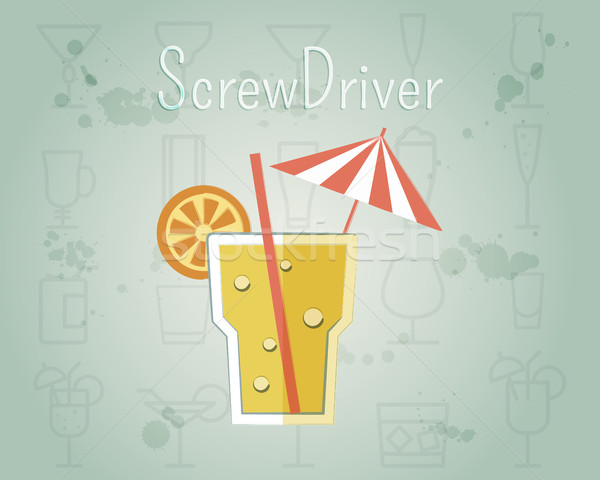 Screw Driver Cocktail banner and poster template. Summer stylish design. Isolated on unusual Backgro Stock photo © JeksonGraphics