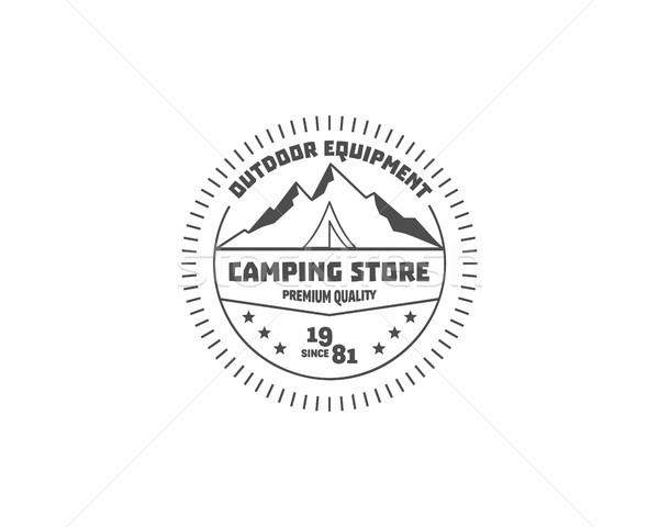 Vintage camping store badge, outdoor logo, emblem and label