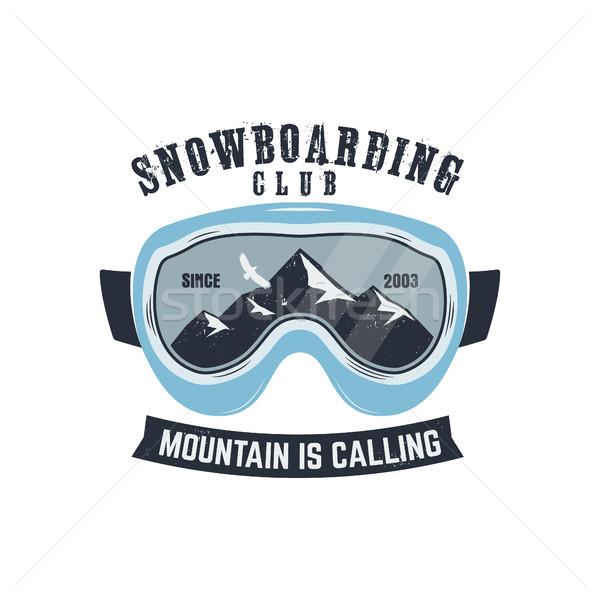 Snowboarding óculos de proteção logotipo etiqueta modelo inverno Foto stock © JeksonGraphics