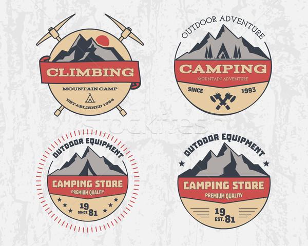 セット レトロな 色 屋外 キャンプ 冒険 ストックフォト © JeksonGraphics