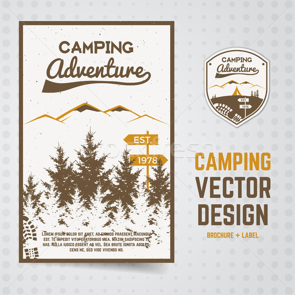 Camping adventure vector brochure and label The concept of flyer for your business, web sites, prese Stock photo © JeksonGraphics