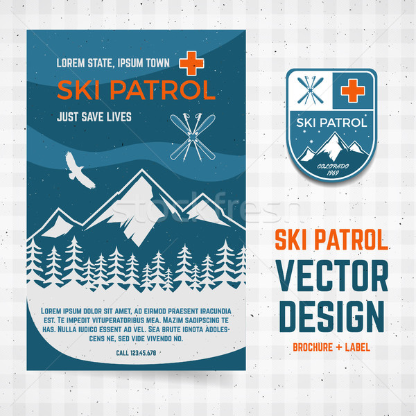 Ski vecteur brochure étiquette camp flyer Photo stock © JeksonGraphics