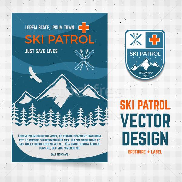 лыжных вектора брошюра Label лагерь Flyer Сток-фото © JeksonGraphics