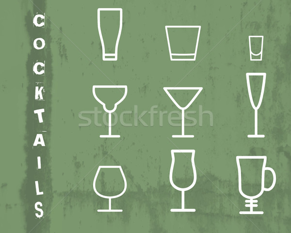 Beverage vector thin line symbol icon. Cocktails. Party outline elements isolated on green grunge ba Stock photo © JeksonGraphics