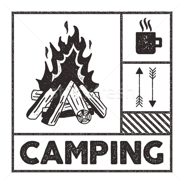 Wanderlust Camping stamp. Old school hand drawn t shirt Print Apparel Graphics. Campfire, mug and ar Stock photo © JeksonGraphics